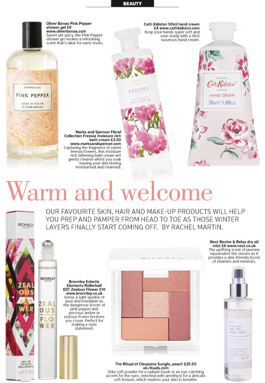 An RMC Media beauty column featuring spring beauty products.