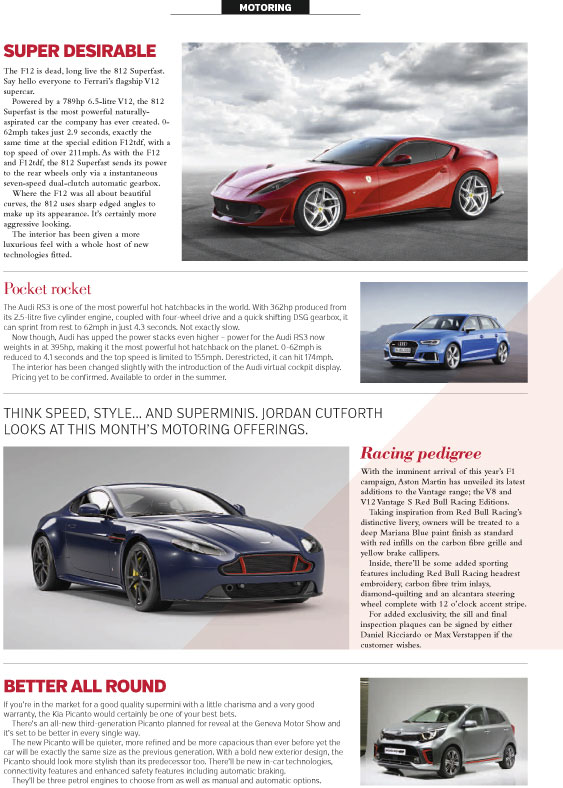 An RMC Media motoring column featuring models from Ferrari, Audi, Aston Martin and Kia