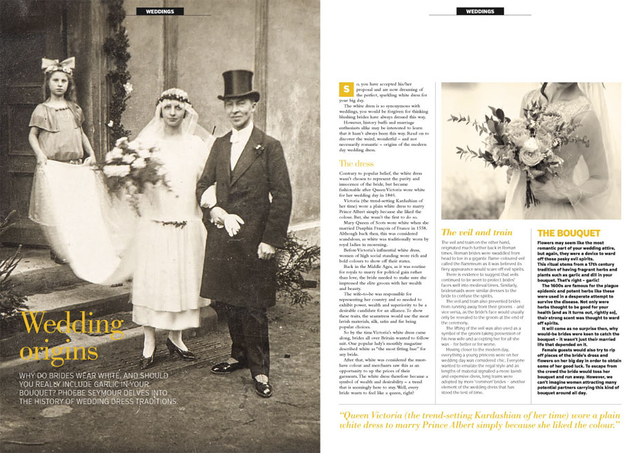 An RMC Media magazine article about the traditions surrounding modern weddings
