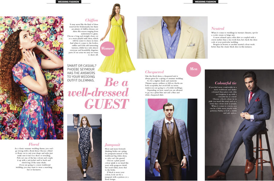 An RMC Media magazine page about fashion trends for wedding guests.
