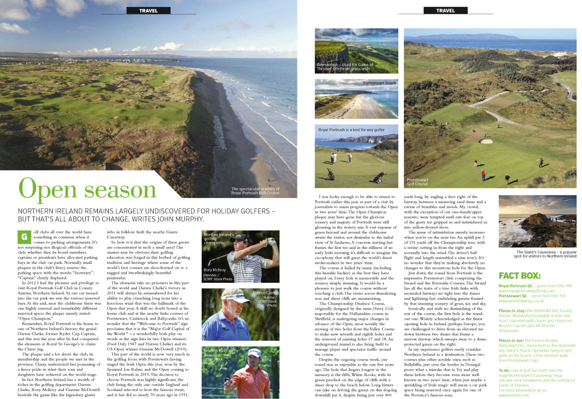 An RMC Media travel article about golf in Northern Ireland.