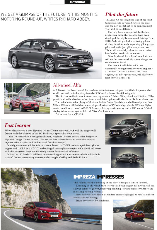 An RMC Media motoring column featuring models from Audi, Alfa Romeo, Subaru and Hyundai.